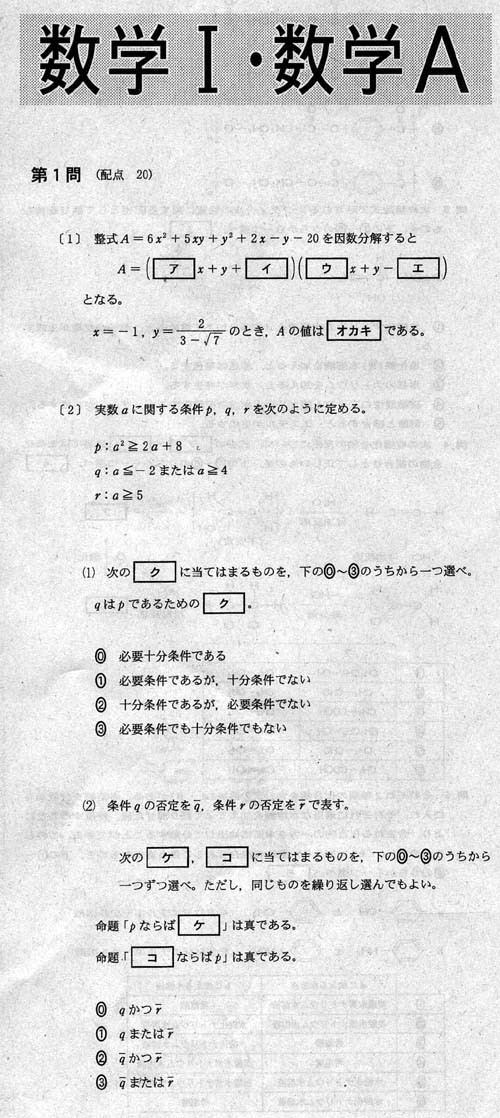第2問は、二次関数のグラフの ...